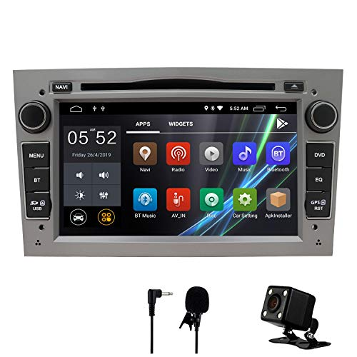 Auto Stereo Android 8.1 Radio DVD Player GPS NAVI 7 Inch IPS 2 Din Fits für Opel Antara Vectra Crosa Vivaro Zafira Meriva mit Rear Camera Support Bluetooth WiFi 4G Spiegel Link USB SWC OBD(Grau)