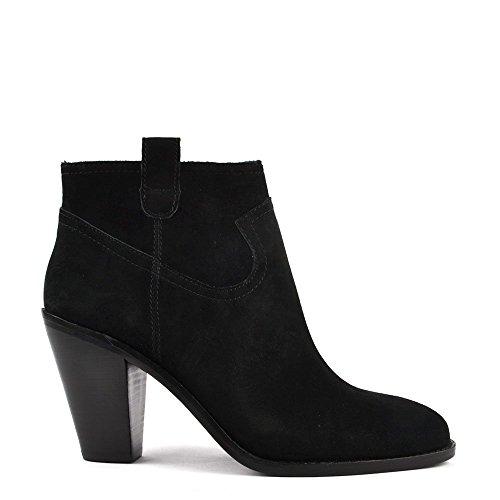 Ash Footwear Ivana Black Suede Silver Zip Ankle Boot 38EU/5UK Black