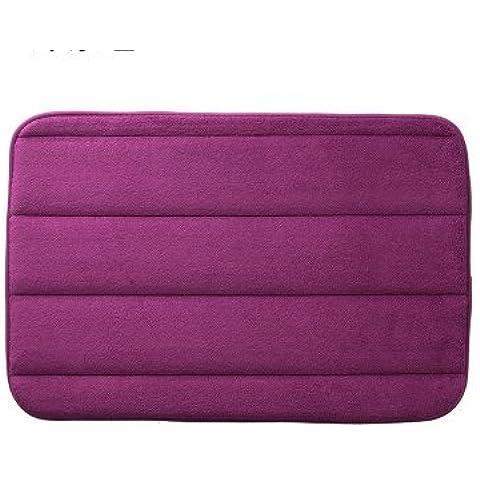 Solido colore corallo del panno morbido bagno stuoia, WC, acqua-assorbente stuoia tappeto stuoie Hall,Viola pallido