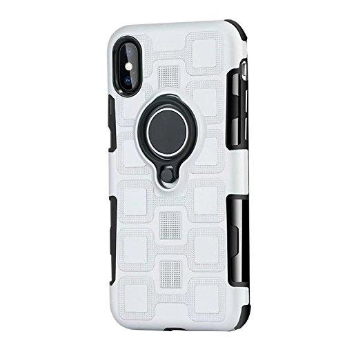 JINXIUCASE Handyhülle Fall, Armour Dual Layer 2 in 1 Schutzhülle mit drehbarem Fingerring Halter Ständer passend für magnetische Auto Halterung für iPhone X/XS (Farbe : Silber)