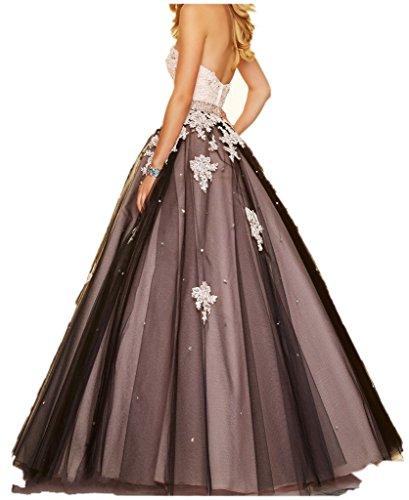 Charmant Damen Wunderschoen Spitze Abendkleider Ballkleider A-linie Lang Tanzenkleider Abschlussfeiern Abiballkleider Rosa