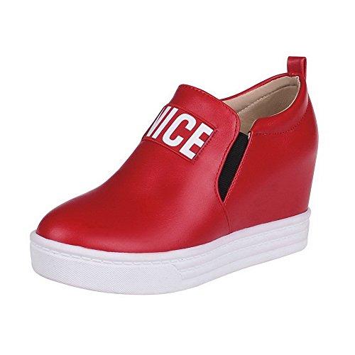 VogueZone009 Damen Weiches Material Rund Zehe Ziehen Auf Gemischte Farbe Pumps Schuhe Rot