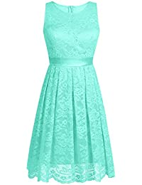 iEFiEL Women Floral Lace Bridesmaid Short Dress Evening Prom Cocktail Gown