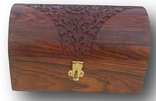Distressed round Wooden treasure chest trinket box