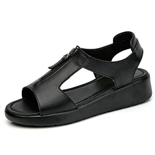 Damen Sandalen Flache Dicke Sohle Aufzug Reißverschluss Einfache Römische Stil Modische Freizeit Schuhe Schwarz