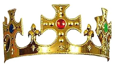 Woodega - Herren Weihnachts Kopfbedeckung Funartikel - Krone mit Steinen König, One size, Gold (Krone Für Weihnachten Szenen)