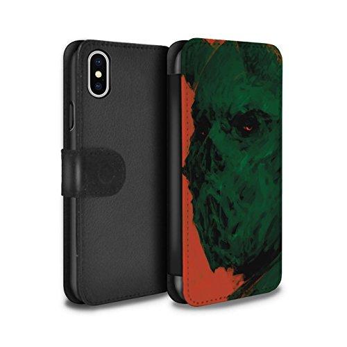 Offiziell Chris Cold PU-Leder Hülle/Case/Tasche/Cover für Apple iPhone X/10 / Vampirfledermaus Muster / Wilden Kreaturen Kollektion Ungeheuer/Troll