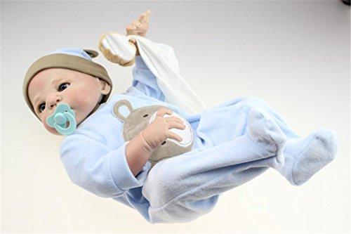Soft Handmade Reborn Boy Baby Puppe 23 Zoll 57 cm realistische Babys Boys Full Silikon Vinyl realistisch Baby Kids Geburtstag Weihnachten Geschenk Geburtstag Weihnachts-Hochzeit Geschenk Verringerung Angst helfen Autismus schwangere Frauen