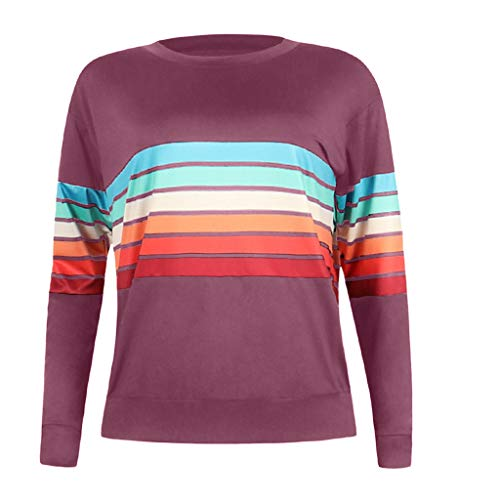 Toamen Women s Tops Jumper Pullover Sale Ladies Casual Multicolor Striped  Print Long Sleeve Loose Tunic Blouse b37d1357a8e