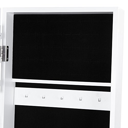 Songmics JBC77W Schmuckschrank und Standspiegel zwei in einem, weiß, 35,5 x 153 x 35 cm - 5