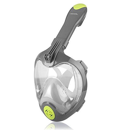 HiCool Maske, Vision 180Grad Mascara für Tauchen mit Motiv Gesicht voll Atmen frei, Anti–Fog und Anti–Leck, Technologie verhindert spiegelt Knebel