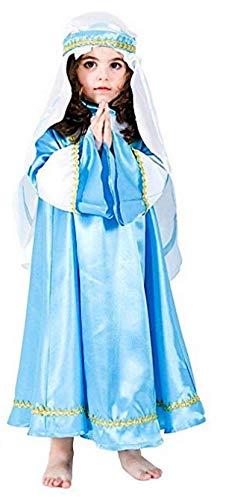 üm Madonna Mädchen 7-8 Jahre Kleid Jungfrau Maria für Recite Spektrüle, Weihnachten, Höhe Schulter Terra 90 cm ()