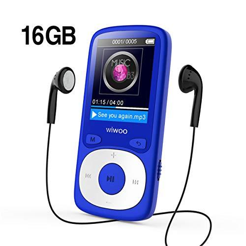 Wiwoo Lettore MP3, 16GB Digital Audio Lettore Musicale con Registrazione Radio/Vocale, con Cuffia Auricolare, Espandibile fino a 64 GB