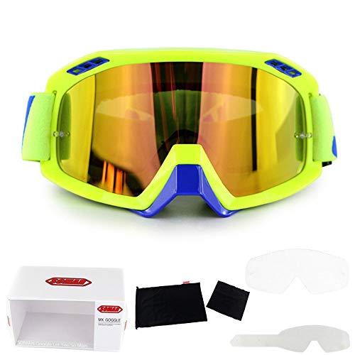WAJJ Motorradbrille, Motorrad-Offroad-Brille Full-Frame-Fahrt Winddicht Spiegel kann mit Myopie Brille Cabrio Brille DREI Schichten Schwamm ausgestattet Werden (Color : E)
