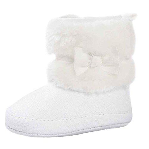 Baby Stiefel, FNKDOR Mädchen Jungen Rutschfest Weiche Bowknot Schuhe für Neugeborene 0-18 Monate (12-18 Monate, Weiß)
