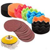 EasyBuy India Drillpro 19pcs 3 inch Sponge Pads with 60-240 Grit Sandpaper Polishing Tool