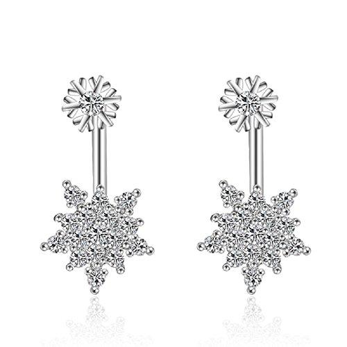 Cute 18K oro bianco Gp doppio fiocchi di neve orecchini cristalli Swarovski (Swarovski Crystal Fiocchi Di Neve)