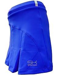 Sportkind Jupe plissée avec culotte intégré (jupe-short) de tennis / hockey sur gazon pour fille et femme en bleu cobalt tailles 4 ans à XXL