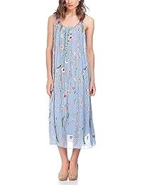 Laura Moretti - Vestido largo de seda con detalles florales bordados de colores