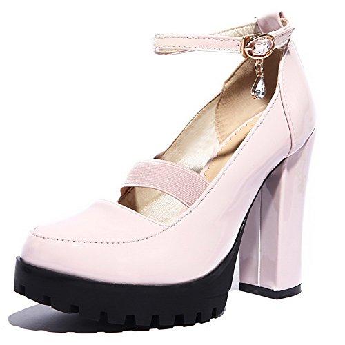 VogueZone009 Femme Boucle à Talon Haut Pu Cuir Couleur Unie Rond Fermeture D'Orteil Chaussures Légeres Rose
