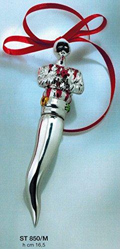 Corno portafortuna argento busto pulcinella h cm16,50 laminato argento made in italy