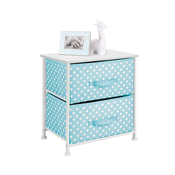 mDesign Chest of Drawers - Children's Bedroom Storage System with 2 Drawers and Flat Top - Nursery Storage Unit with Polka Dot Design - Turquoise/White mDesign SWEET STORAGE: This 2-drawer side table is a must-have accent to complement any child's room. The bright turquoise fabric is adorned with a sweet white polka dot pattern. STORE ANYTHING: The bedroom drawers are a versatile unit and can be filled with anything. Use to store toys, accessories, clothes, books, nappies and more. VERSATILE UNIT: Although the unit works best as bedroom storage, its uses do not stop there. Place in play rooms, nurseries and other child-specific areas of the home. 6