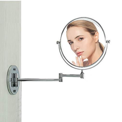 WUDHAO Beleuchteter Kosmetikspiegel Kosmetikspiegel Rasierspiegel Schminkspiegel Mit Gelenkarm Wandmontage Für Badezimmer 360°drehbar Doppelseitig (3-10-fach Vergrößerung-1) Schminkspiegel (Hotels In Der Nähe 9)