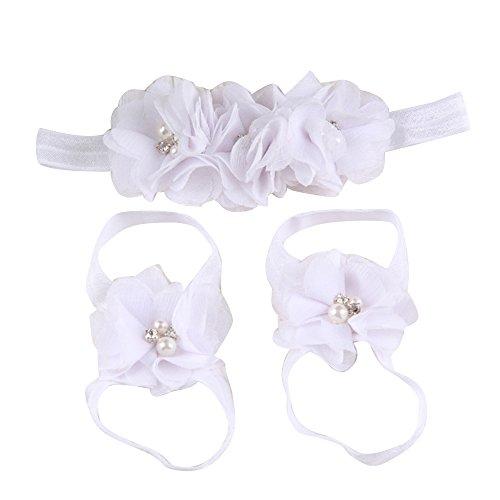 Sanwood Baby Girl Kopfband Haarband Mädchen Headband Fuß Barfuß Sandalen (Weiß)