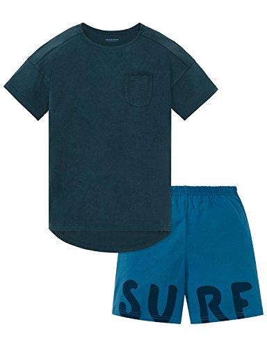 Schiesser Jungen Zweiteiliger Schlafanzug Anzug Kurz, Blau (Blaugrün 817), 164 (Herstellergröße M)