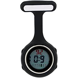 Ellemka JCM-330 FOB Nurse Clip Watch Digital Multi-functional Quartz Silicone Backlight Brooch Pin Tunic Pendant Paramedic Doctor Nursing Medical Hospital Watches Black