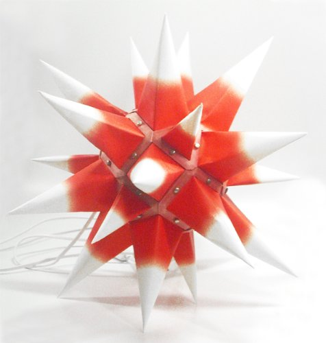 I4, roter Kern / weiße Spitzen, Weihnachtsstern Herrnhut für Innen, aus Papier, Durchmesser 40 cm, zur Selbstmontage, Dekoration, Deko, Adventsstern, Stern, Sterne, Advent, Weihnachten, original Herrnhuter Stern -