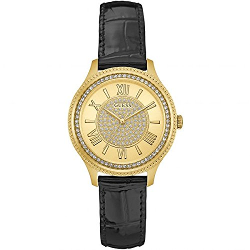 GUESS WOMEN'S MADISON 35MM BLACK LEATHER BAND STEEL CASE QUARTZ WATCH W0840L1