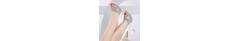 GTVERNH Mujer Zapatos/Medio Tacones Sandalias Verano Rough Heels Taladro De Agua Peces Boca 7 Cm Zapatos De Tacon... -
