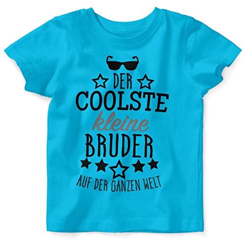 Mikalino Baby/Kinder T-Shirt mit Spruch für Jungen Mädchen Unisex Kurzarm Der coolste kleine Bruder auf der ganzen Welt | handbedruckt in Deutschland | Handmade with Love, Farbe:Atoll, Grösse:92/98