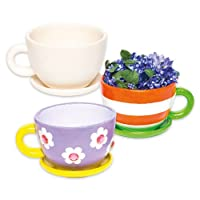 Cup & Saucer Ceramic Planters for Children to Design Paint and Decorate - Creative Craft Kit for Kids/Adults (Box of 2)