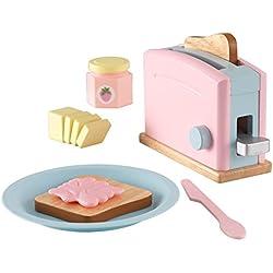 KidKraft 63374 Ensemble grille-pain en bois pour enfant Accessoires pour cuisine fictive Couleurs pastel
