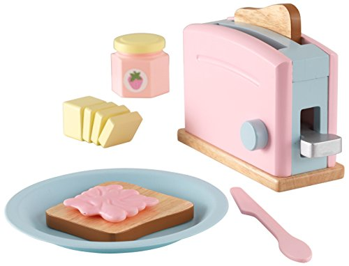 KidKraft 63374 Pastel Toaster Wooden Pretend Toy Food Set, cookware and accessories for kids play kitchen