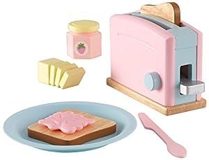 KidKraft- Set de cocina de juguete con tostadora y accesorios de cocina, de madera, Multicolor (Pastel) (63374)