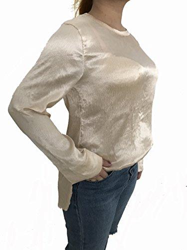 Beyove Damen Basic Langarmshirts Oberteile Tops Bluse Rundhals Rücken mit Reißverschluss Falten Metallic-Effekt Freizeit Casual Lose Herbst Winter Frühling Champagnerfarbe