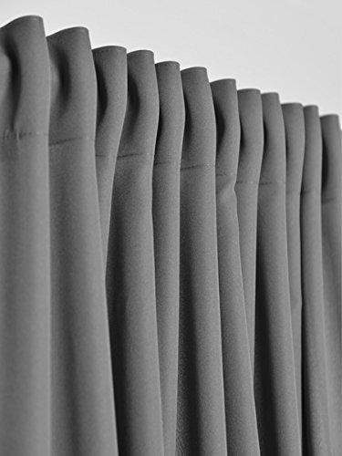 2er Set einfarbige Verdunkelungsvorhänge Blickdicht Gardinen (RENO Grau 51, 140×150 cm – BxH) verdunkelung Vorhang Gardine mit Tunnelband, 2 Stück lichtundurchlässig Vorhänge für Wohnzimmer Schlafzimmer Kinderzimmer - 3