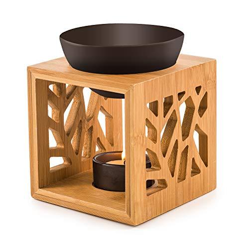 Pajoma Bambus/Keramik Duftlampe ''Pattern II'' in schwaru, L 12 x B 12,2 x H 12 cm