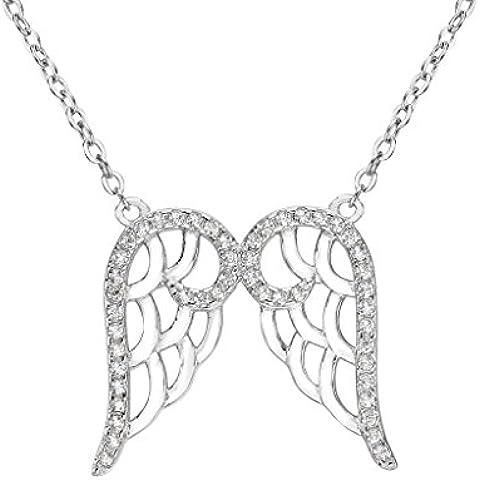 EleQueen argento 925 completa zirconi doppio ciondolo angelo ala collana trasparente, 16,5 Extender