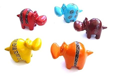 Katangi Handcrafts Soapstone Set of 5 Hand Painted Toy Hippos-