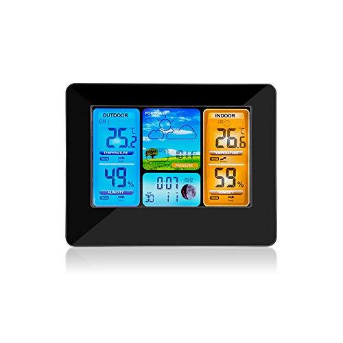 QUOXO Wetterstation mit Außensensor, Thermometer, Hygrometer, Barometer, LCD-Anzeige und Radiowecker