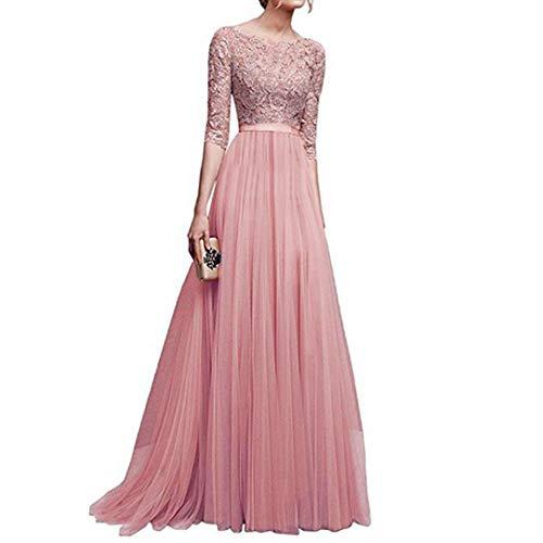 Damen Chiffon Brautjungfer langes Kleid Abend-Abschlussball-Kleid-Spitze Maxi Kleid