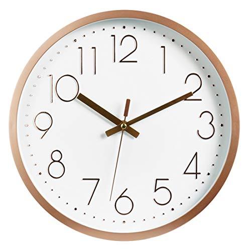 """Topkey Wanduhr 12"""" Modern Lautlos Sweep-Uhrwerk Dekorative Wanduhr Für Wohnzimmer, Schlafzimmer, Küche - Rosé Gold"""