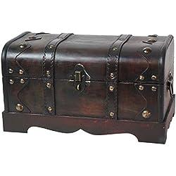 Baúl pirata de madera, para almacenaje, estilo antiguo.