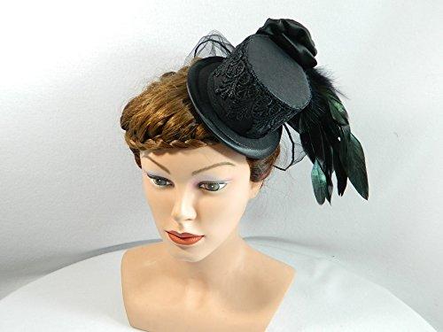 Mini Zylinder schwarz Damenhut Hut Fascinator Cocktail Hütchen (Ball Edwardian Kostüm)