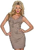 4235 Fashion4Young Damen Ärmelloses enganliegendes Minikleid Long Top kleid Stretch Stoff 2 Gr.