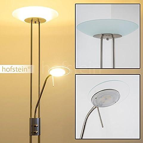 Lampadaire sur pied LED Olmini chromé - Eclairage principal et liseuse à intensité variable avec deux dimmers indépendants - Lumière de teinte blanc chaud parfait pour un luminaire de salon